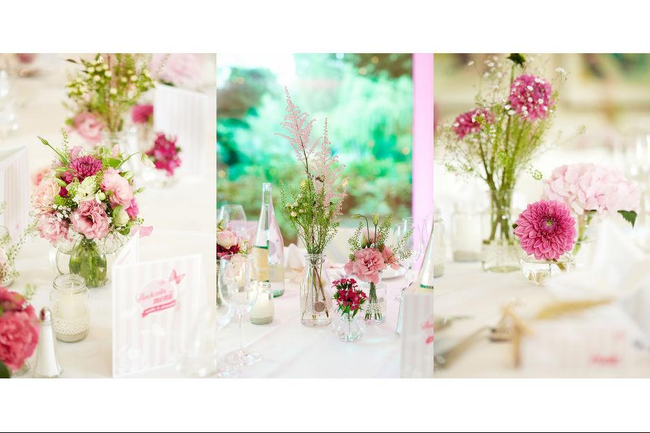 Hochzeitstischdekopink
